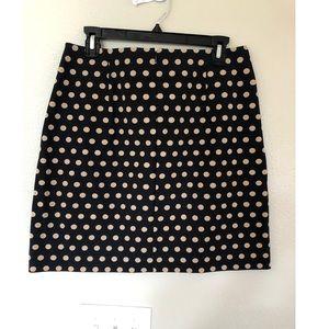 Black/tan polka dot loft skirt